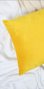 Velvet Pillow Cover Yellow