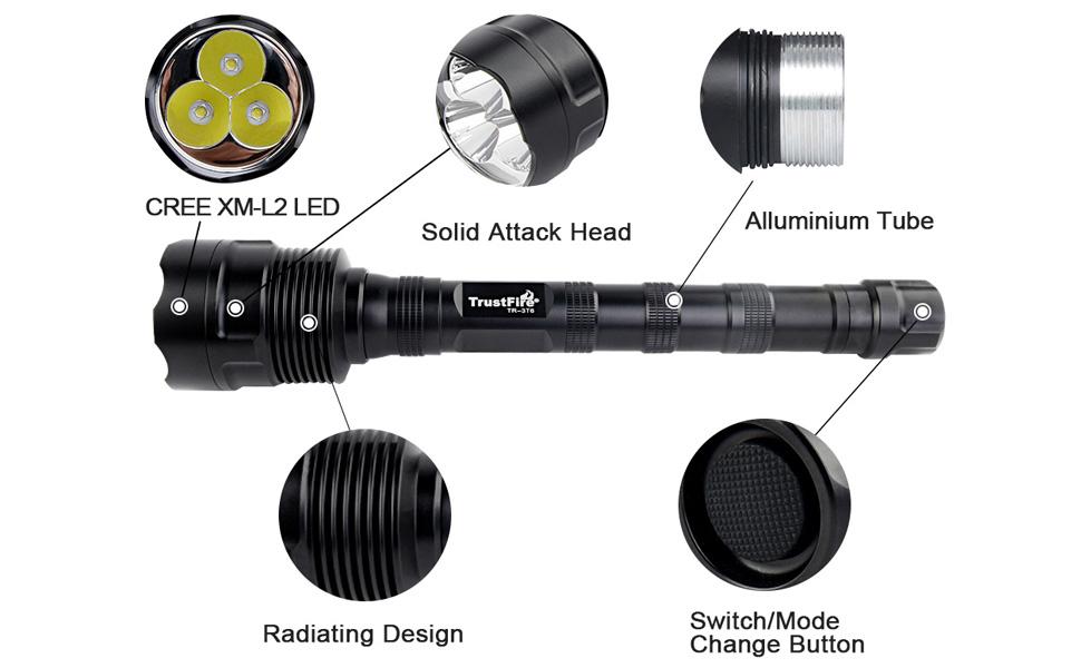 1 Modo alto 2 bater/ías GTF//Cargador Kit B - Kit de alumbrado Kit original Trustfire TR-500-3 Led CREE XML-T6 3800lm