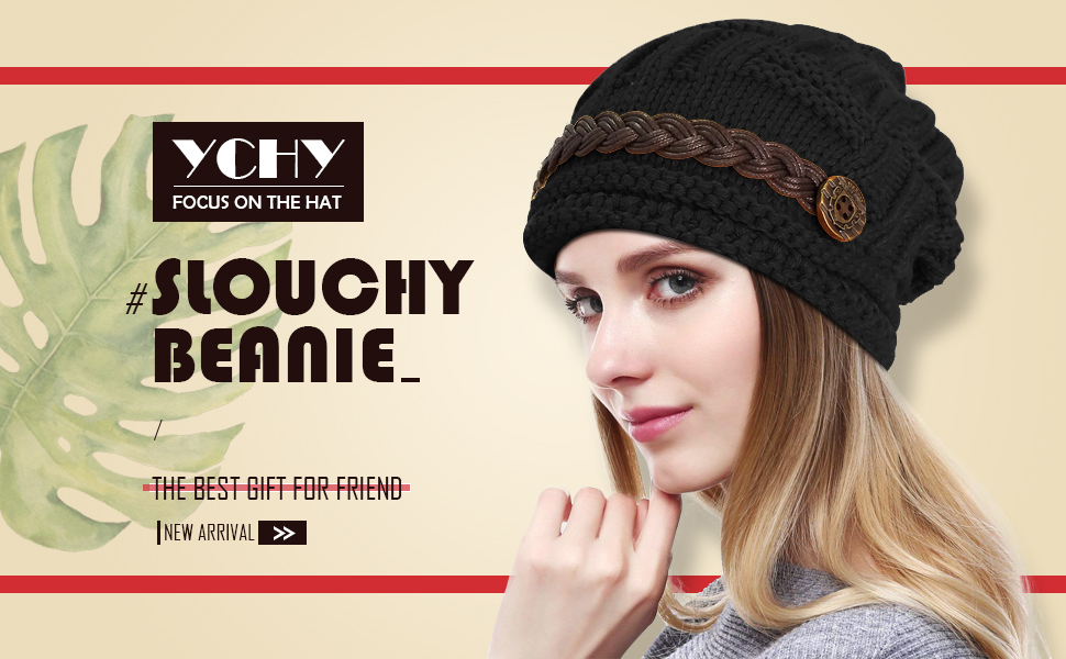 c011a19aed0 YCHY Slouch Women hat Winter Baggy Snowboarding Knit Snow Warm Hat ...