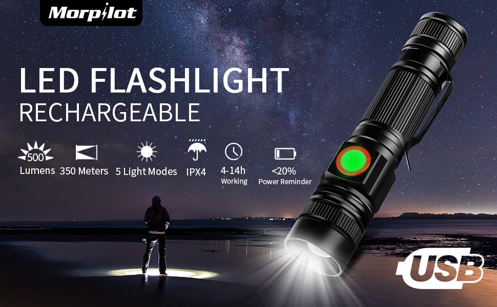 Mini Flashlight LED Rechargeable Morpilot Pocket-Sized Ultra Bright 500 Lumens,