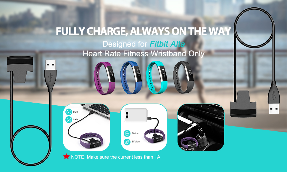 Cablor 2PCS Charger for Fitbit Alta , 30cm Fitbit Alta Replacement USB  Charging Cable for Fibit Alta Band Wireless, Quality Power Charging Cord  (No