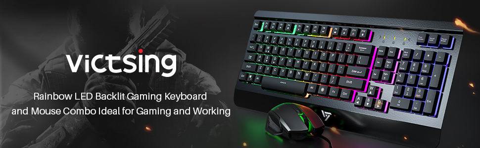 Ultra-Slim Rainbow LED Backlit Keyboard with Ergonomic Wrist Rest Black Programmable 6 Button Mouse for Windows PC Gamer VicTsing Gaming Keyboard Mouse Combo Spill-Resistant Design