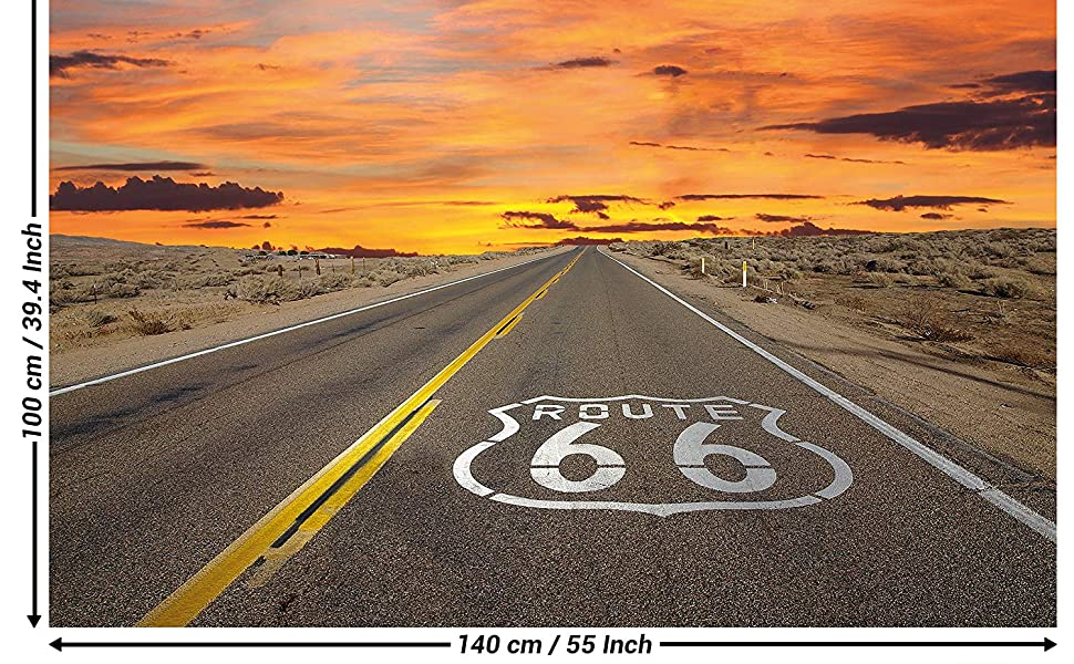 Great Art Posters Route 66 Mural Decoration America Highway Chicago California Trips Vacation Sunset Desert Usa Scenery Set Wallposter Photoposter