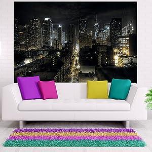 Amazon Com New York Photo Wall Paper Manhattan At Night