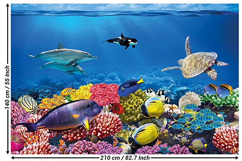 Wall Mural Aquarium Decoration Colourful Underwater World Sea Dweller Ocean Fishes Dolphin Coral Reef Clownfish I Paperhanging Wallpaper Poster