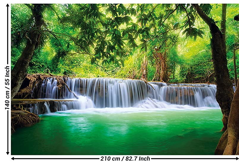 Wallpaper Waterfall Feng Shui Wall Picture Decoration Nature Jungle Scenery Paradise Vacation Thailand Asia Wellness Spa Relax I Paperhanging