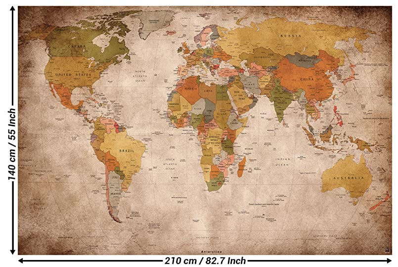 Amazon wallpaper used look wall picture decoration globe wallpaper used look wall picture decoration globe continents atlas world map earth geography retro old school vintage map i paperhanging wallpaper poster gumiabroncs Gallery