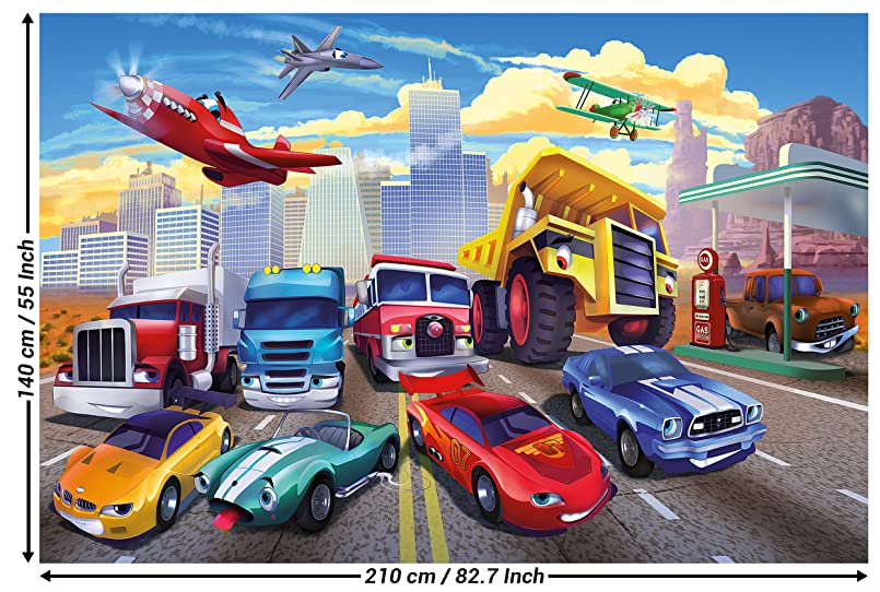 Wallpaper for Kid's Room Car Racing Mural Decoration Airplane Cars on