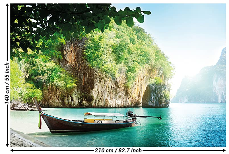 Wallpaper Fishing-Boat in a Tropical Bay Mural Decoration Vacation Trips Seaside Paradise Bay Nature Island Sea Travel Beach I paperhanging Wallpaper poster ...