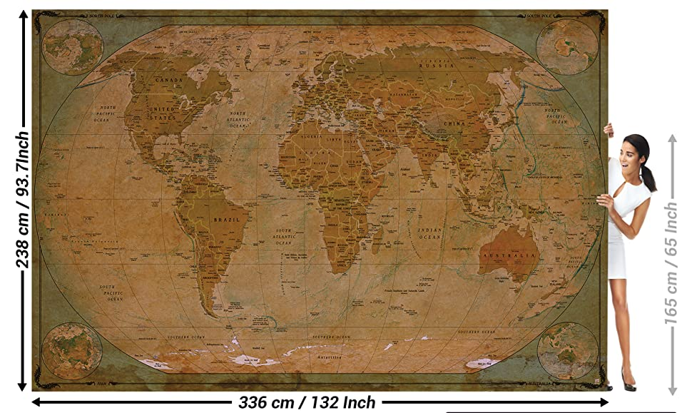 Amazon wallpaper map of the world wall picture decoration decoration historical world map terrestrial globe old school antique old map used look retro vintage i wallpaper poster wall decor by great art 1323 x gumiabroncs Gallery