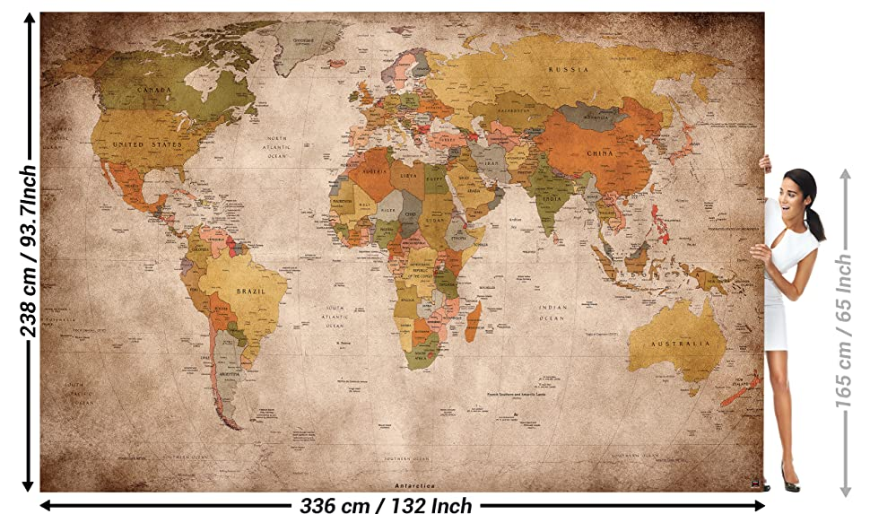 Amazon wallpaper used look wall picture decoration globe wallpaper used look wall picture decoration globe continents atlas world map earth geography retro old school vintage map poster wall decor by great art gumiabroncs Gallery