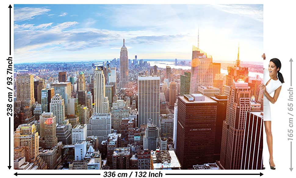 Wall Mural New York Skyline Mural Decoration Sunset Manhattan Penthouse Panorama View Usa Decoration America Big Apple I Paperhanging Wallpaper Poster