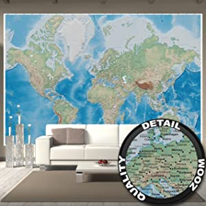 132   X  Pieces  E2 9c 93 The World Map Wall Mural 3d Effect For Your Interior Decoration  E2 9c 93 As Wallpaper Ideal For Your Study