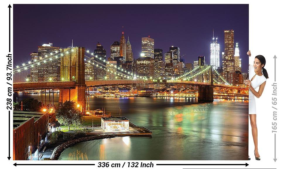 wallpaper new york mural decoration brooklyn bridge at night glowing
