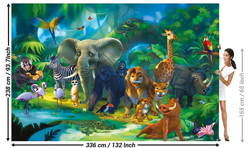 Animals Mural Decoration Jungle Zoo Nature Safari Adventure Tiger Lion Elephant Monkey I Paperhanging Wallpaper Poster Wall Decor By GREAT ART
