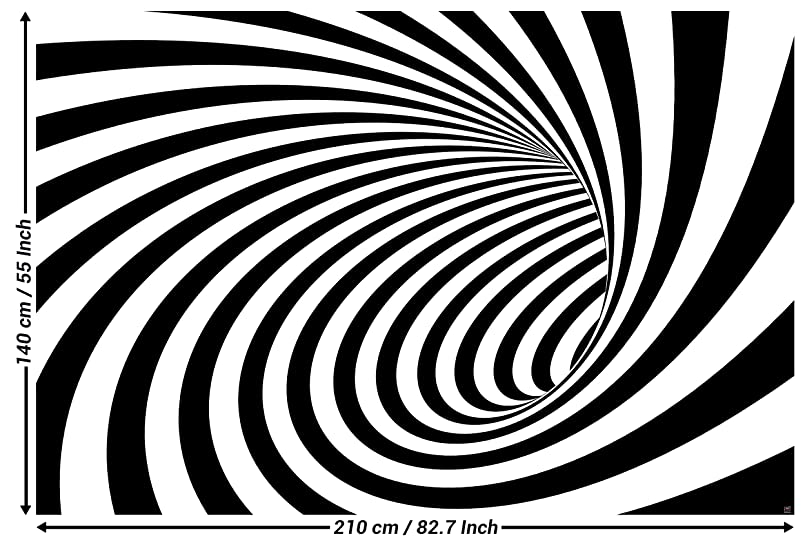 3D Photo Wallpaper Tunnel Black White Wall Picture Decoration Modern Abstract Spiral Optical Illusion Sample I Decorations