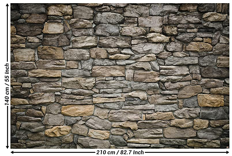 GREAT ART Wallpaper Grey Stonewall - Wall Picture