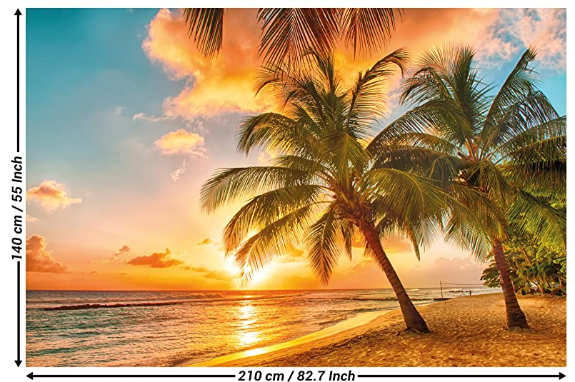 Photographic Wallpaper Barbados For Mural Decoration Sunset Caribbean Beach Sea Palm Summer Island Dream Holiday I Paperhanging