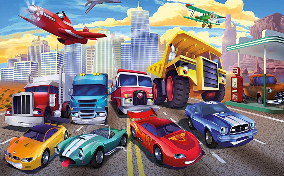 Sports Car Wallpaper For Bedroom: Great Art Wallpaper Children's Room Cars Planes Race Cars