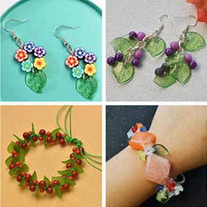 Plastic Translucent Frosted Artificial leaves Beads Fit Jewelry DIY Cr