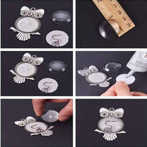 10 Large Antique Silver Owl Pendants 25mm Setting 1 inch DIY Jewelry Setting Cabochons 55mm x 30mm x 2mm Blanks