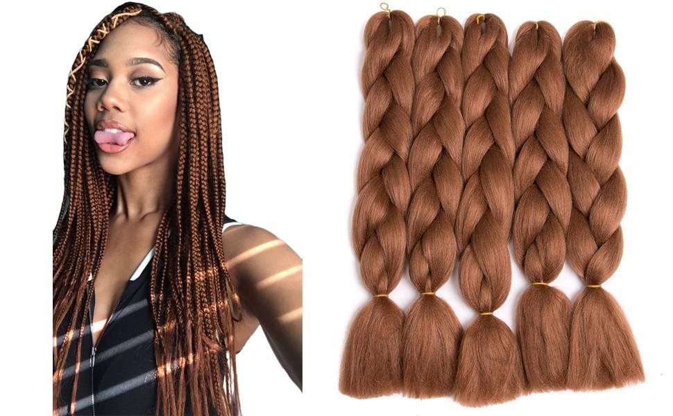 brown braiding hair