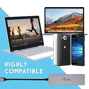 Sully USB C Adapter for MacBook - USB Type C Hub w/HDMI Micro SD USB USB-C Multiple Port Converter