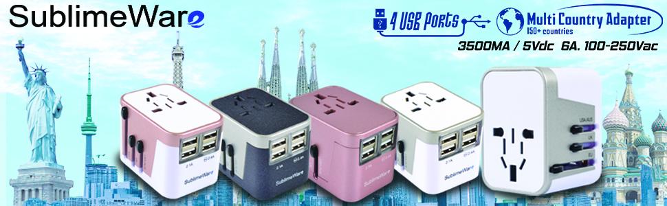 International travel plug adapter adaptor europe european 4 USB ports UK USA China Type I G C A