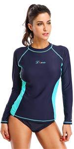 Rash Guard Surfing & Diving Rashguards Swimsuit Swimwear 4 Piece Per Set Womens Long Sleeve Rash Guard Shirt Athletic Swim Top & Bottom Sun Guard Upf 50