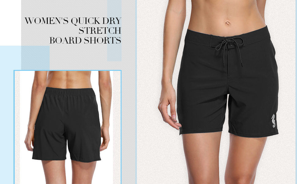bd2fa2f63e6ce7 ALove Women s Solid Stretch Board Shorts Swimwear Quick Dry Swim ...