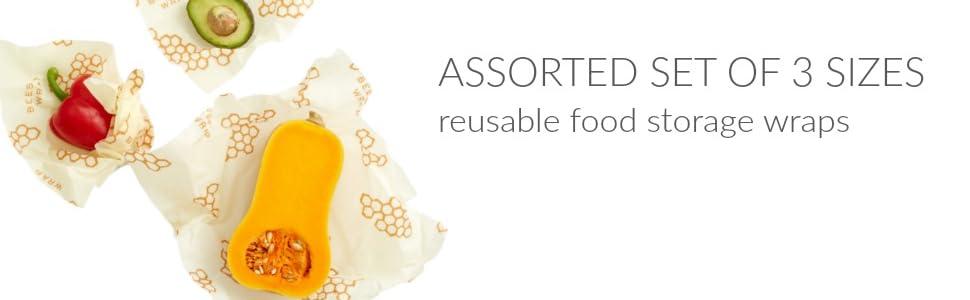 reusable food storage wrap assorted set of 3