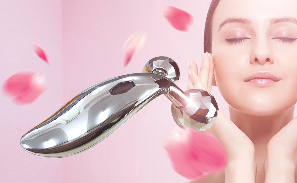JUFIT Face Body Roller Massager 3D Reface Massager Roller Y-Shape Sliver  Face Mask Body Spa