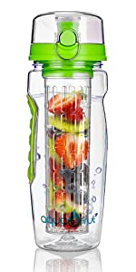 AquaInfuse Fruit Infuser Water Bottle Red Green or Purple
