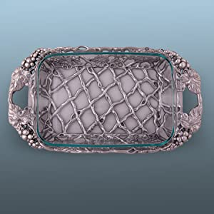 Arthur Court Aluminum Grape Pattern Pyrex Glass Casserole Dish Holder 21 long 3 quart capacity 10-1628