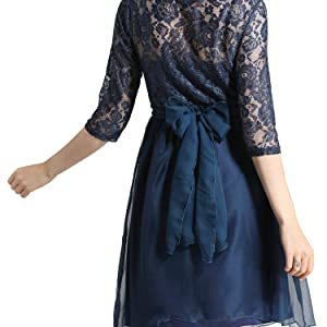 Womens Maternity 3/4 Sleeve Knee Length Lace Dress