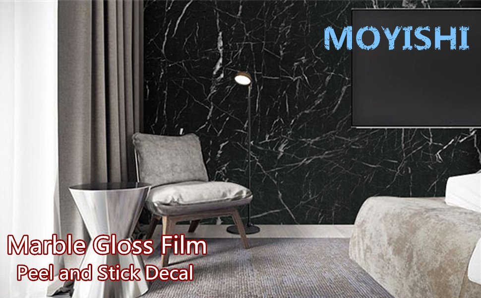New Black Granite Look Marble Gloss Film Vinyl Self Adhesive Counter Top  Peel and Stick Wall Decal 24''x79''