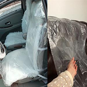Tuneway 100pcs Car Disposable Plastic Car Seat Covers Waterproof Seat Protectors Car Valet Kit Dog Seat Cover