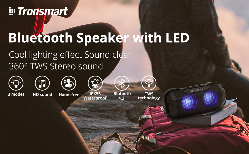 Portable Wireless Speaker Waterproof Outdoor Tronsmart TWS Bluetooth Speaker Light Effect Cycling