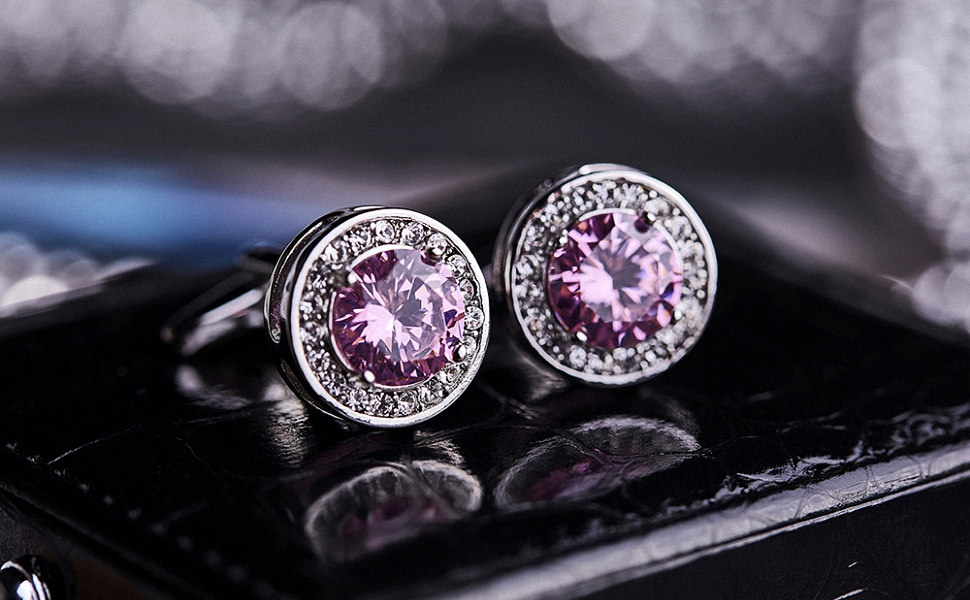 Pink Cufflinks and Tie Clip Set