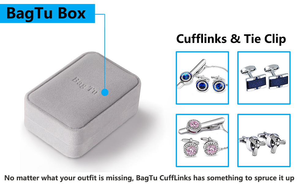 BagTu Box For Cufflinks and Tie Clip Set