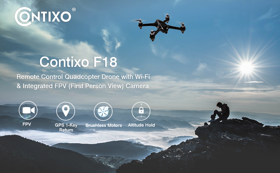 Contixo F18 Quadcopter Drone Wifi FPV Altitude Hold Brushless Motors GPS Auto Return Home Camera F18