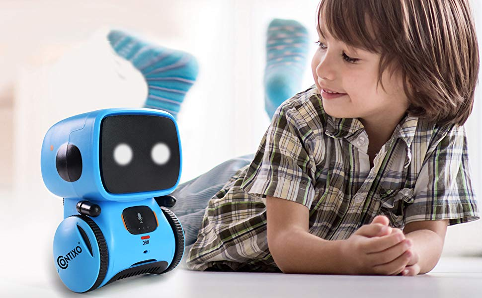 learning education school contixo R1 toy mini robot touch control voice recognition interactive