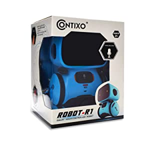 robot toy mini contixo r1 blue fun education learning school interactive speech recognition touch