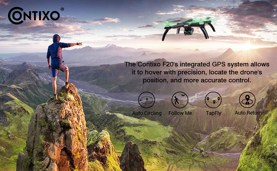 Contixo F20 RC Remote App Quadcopter Drone Follow Me Waypoint Auto Return GPS WiFi HD Camera Tapfly