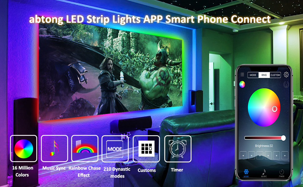 LED Strip Lights APP Controlled USB LED Lights Strip Chase Effect Lights  Strip Waterproof LED Strip Rope Lights Color Changing with Music Rainbow