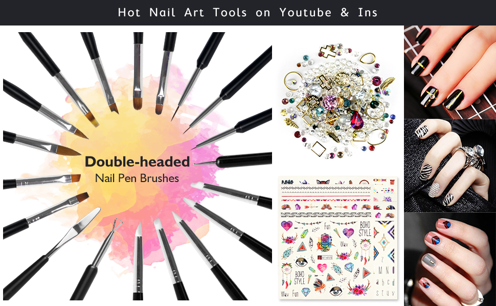 , Nail Art Tools Fashion Design – 8 Size Painting Brushes, 5 Carving/Dotting Pen, 12 Style Decals/Stencils, Striping Tapes, Irregular 3D Rhine…, Luxoney