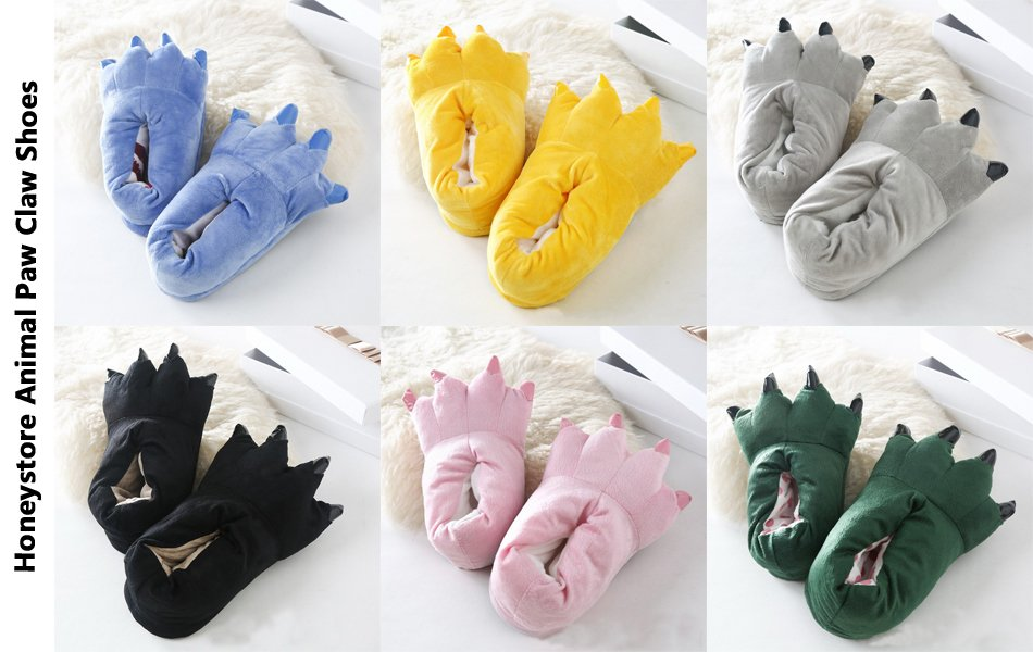 576ffc7aff429 FashionFits Unisex Soft Plush Home Slippers Animal Costume Paw Claw Shoes