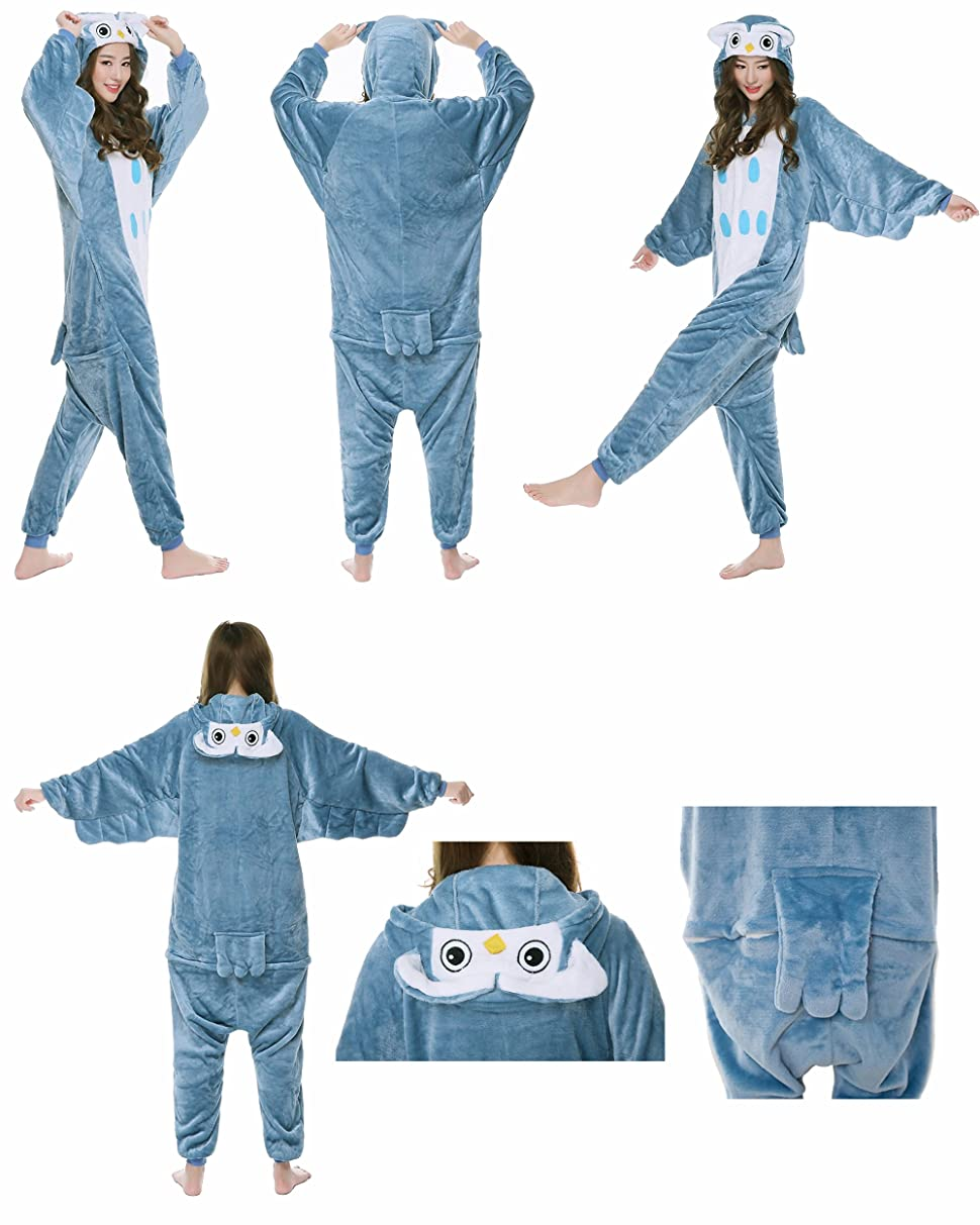 Adult One Piece Cosplay Owl Animal Pajamas Costume Lounge Wear