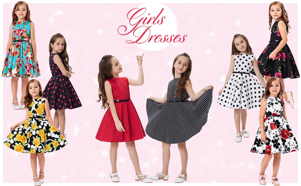 fd914523dcd4 Amazon.com  Kate Kasin Girls Sleeveless Vintage Print Swing Party ...