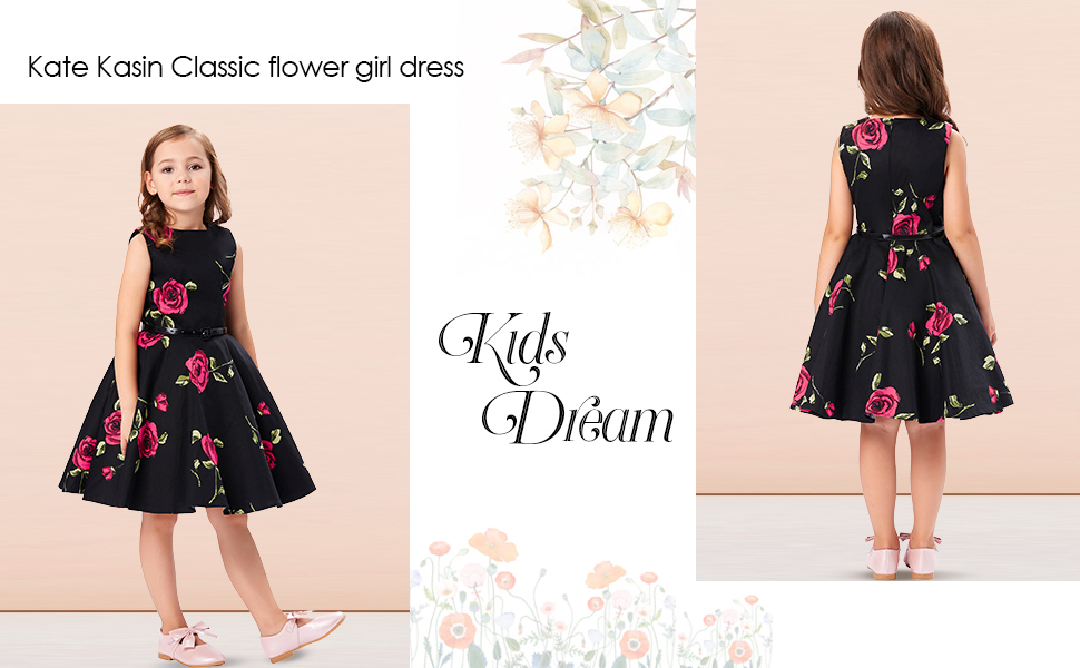 4407cced2 Amazon.com  Kate Kasin Girls Sleeveless Vintage Print Swing Party ...